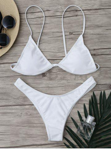 Outfit Micro Spaghetti Strap Padded Bikini Bathing Suit WHITE S
