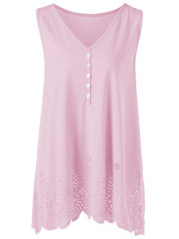 Single Breasted Openwork Plus Size Scalloped Tank Top - Pink - 4xl