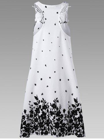 Sale Casual Lace Panel Racerback Floral Tent Dress - XL WHITE AND BLACK Mobile