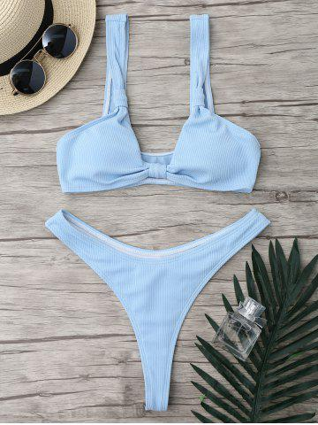 Micro Plunge Neck Ribbed High Cut Two Piece Swimsuit - Light Blue - S
