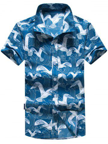 Sale Short Sleeve Seagull Print Hawaiian Shirt BLUE 3XL