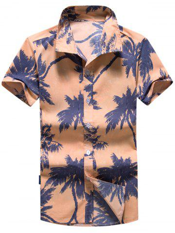 Short Sleeve Coconut Tree Print Hawaiian Shirt