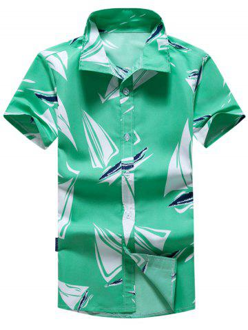 Short Sleeve Sailboat Print Hawaiian Shirt