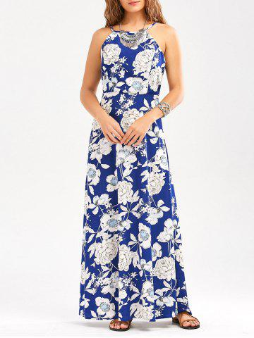 Sleeveless Floral Backless Maxi Dress - Blue - Xl