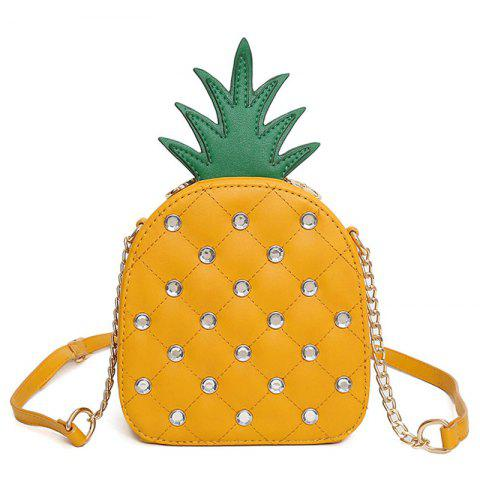 Pineapple Shaped Rhinestone Crossbody Bag - Yellow