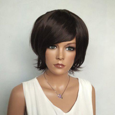 Sale Shaggy Short Side Bang Silky Straight Synthetic Wig RED MIXED BLACK