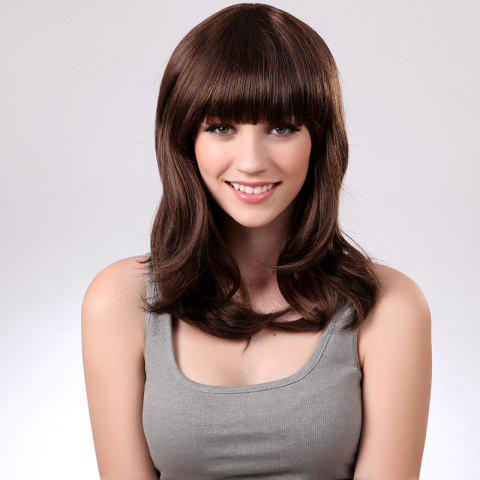 Online Full Bang Medium Natural Straight Synthetic Wig - BROWN 2/30#  Mobile