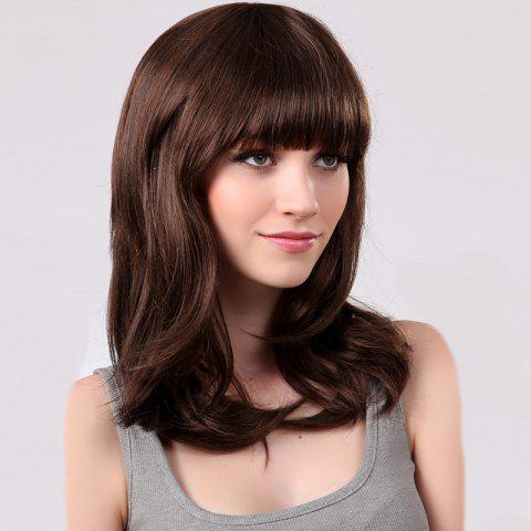 Unique Full Bang Medium Natural Straight Synthetic Wig - BROWN 2/30#  Mobile