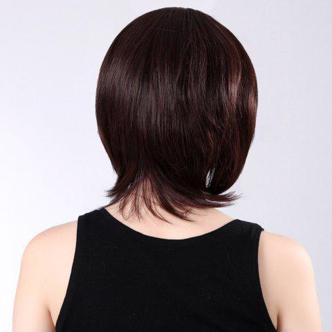 Fashion Colormix Short Side Bang Silky Straight Synthetic Wig - RED MIXED BLACK  Mobile