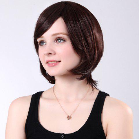 Unique Colormix Short Side Bang Silky Straight Synthetic Wig - RED MIXED BLACK  Mobile