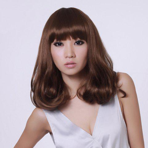 Unique Full Bang Shaggy Medium Slightly Curly Synthetic Wig - BROWN 2/30#  Mobile
