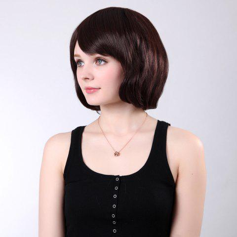 Outfit Short Inclined Bang Shaggy Straight Bob Synthetic Wig - CHESTNUT 12/24#  Mobile