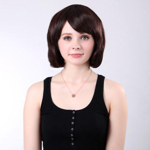 Fashion Short Inclined Bang Shaggy Straight Bob Synthetic Wig - CHESTNUT 12/24#  Mobile