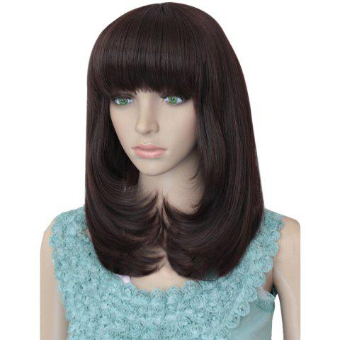 Outfit Tail Adduction Full Bang Layered Medium Straight Synthetic Wig - CHESTNUT 12/24#  Mobile