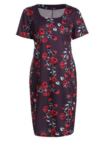 Trendy Plus Size Floral Midi Vintage Sheath Short Sleeve Dress