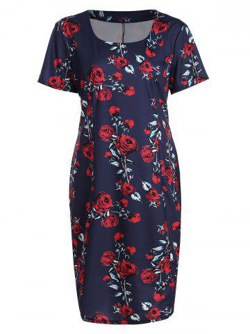 Cheap Plus Size Rose Floral Midi Sheath Pencil Dress PURPLISH BLUE 5XL