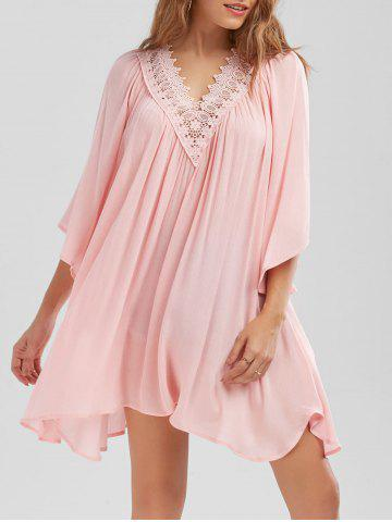 Best Lace Trim Flowing Crinkle Blouse - 2XL PINK Mobile