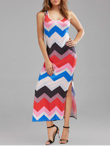 Casual Zig Zag Print Split Maxi Dress Multicolore S