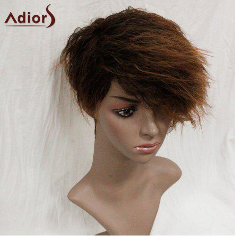 Trendy Adiors Shaggy Side Swept Bang Short Straight Synthetic Wig - COLORMIX  Mobile