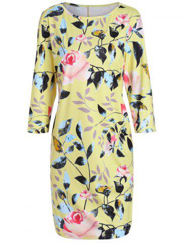 Fancy Plus Size Flower Printed Pencil Dress with Pockets