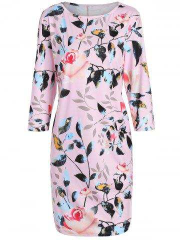 Chic Plus Size Flower Printed Pencil Dress with Pockets PINK 5XL