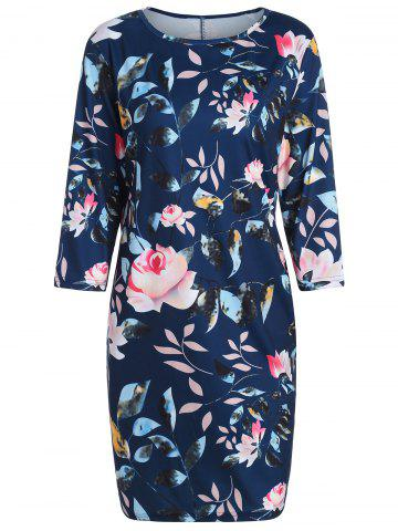 Hot Plus Size Flower Printed Pencil Dress with Pockets - 3XL PURPLISH BLUE Mobile