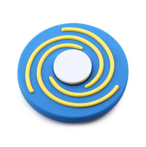 New Round EDC Finger Gyro Hand Spinner Fiddle Toy BLUE AND WHITE
