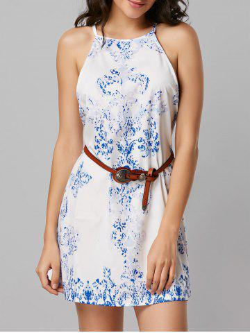 Sale Tribal Print Mini Sleeveless Dress WHITE L
