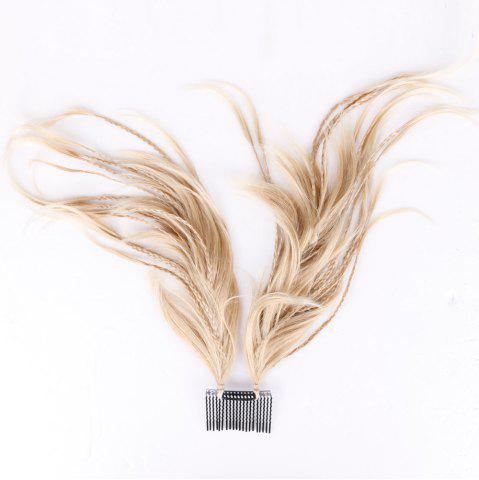 Straight Short Clip-In Micro Braids Hair Pieces - Light Gold