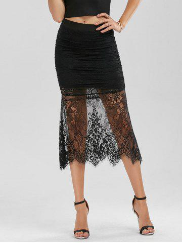 New Floral Lace Panel Ruched Midi Skirt