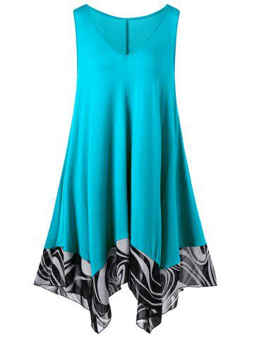 Chic Handkerchief Mini Short Flowy Plus Size Dress - 3XL CYAN Mobile