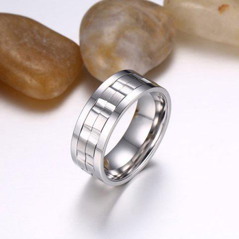 Online Stainless Steel Finger Circle Fidget Ring - 8 SILVER Mobile