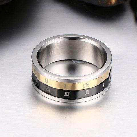 Chic Engraved Roman Numerals Finger Fidget Ring - 9 SILVER Mobile