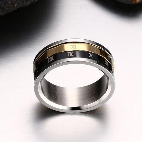 Chic Engraved Roman Numerals Finger Fidget Ring - 10 SILVER Mobile