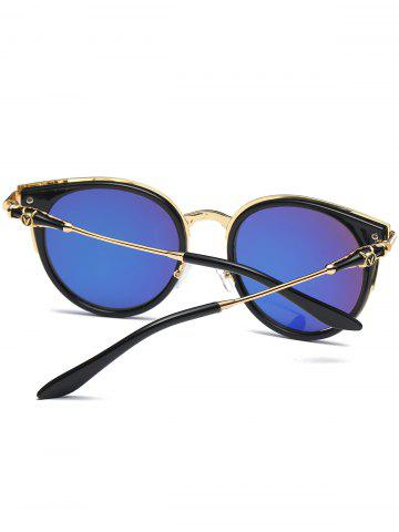 Affordable Mirror Reflective Round Retro Cat Eye Sunglasses - DEEP BLUE  Mobile