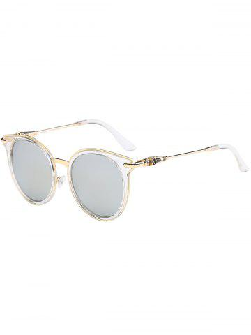 Chic Mirror Reflective Round Retro Cat Eye Sunglasses - TRANSPARENT FRAME + SILVER LENS  Mobile