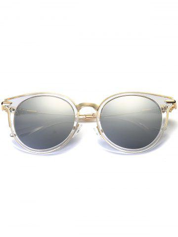 Affordable Mirror Reflective Round Retro Cat Eye Sunglasses - TRANSPARENT FRAME + SILVER LENS  Mobile