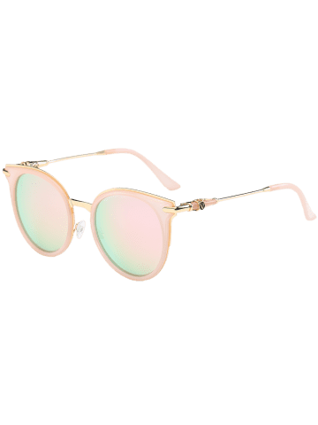 Online Mirror Reflective Round Retro Cat Eye Sunglasses - PINK FRAME+PINK LENS  Mobile