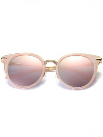 Trendy Mirror Reflective Round Retro Cat Eye Sunglasses - PINK FRAME+PINK LENS  Mobile