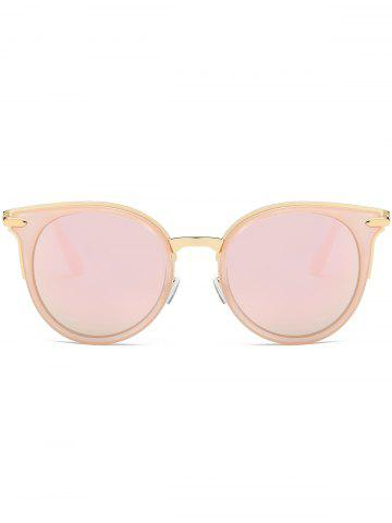 New Mirror Reflective Round Retro Cat Eye Sunglasses - PINK FRAME+PINK LENS  Mobile