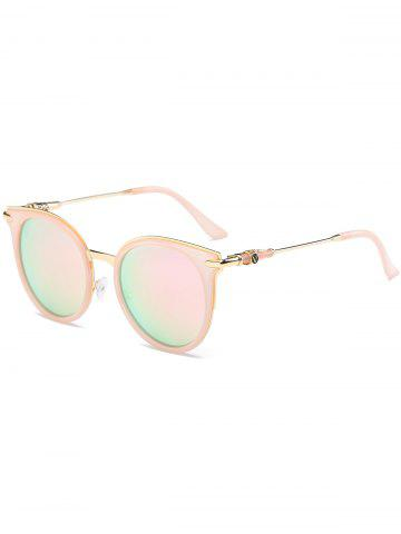 Affordable Mirror Reflective Round Retro Cat Eye Sunglasses - PINK FRAME+PINK LENS  Mobile