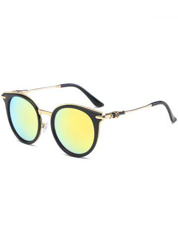 New Mirror Reflective Round Retro Cat Eye Sunglasses - GOLDEN  Mobile