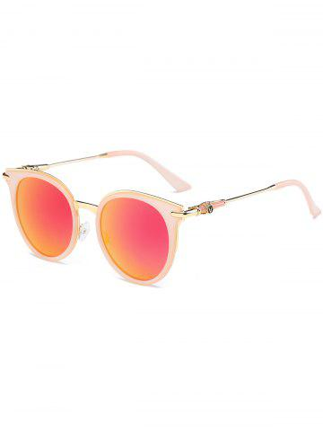 Trendy Mirror Reflective Round Retro Cat Eye Sunglasses ORANGE RED