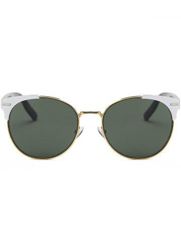 Online Cat Eye Vintage Round Metallic Splicing Sunglasses - BLACKISH GREEN  Mobile