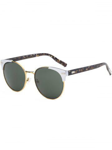Sale Cat Eye Vintage Round Metallic Splicing Sunglasses - BLACKISH GREEN  Mobile