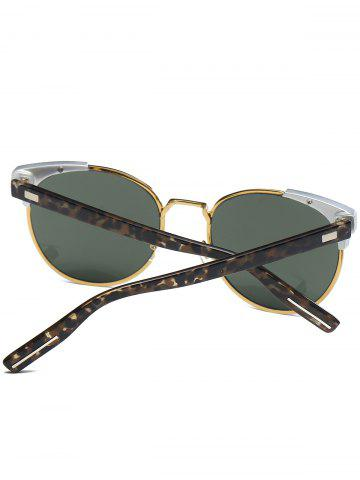 Affordable Cat Eye Vintage Round Metallic Splicing Sunglasses - BLACKISH GREEN  Mobile