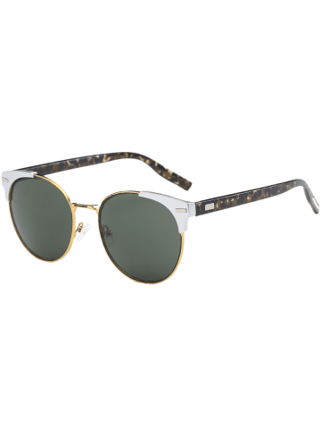 Best Cat Eye Vintage Round Metallic Splicing Sunglasses - BLACKISH GREEN  Mobile