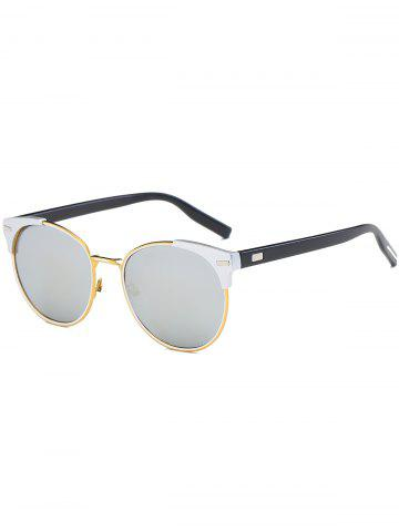 Cheap Vintage Round Mirrored Cat Eye Sunglasses REFLECTIVE WHITE COLOR