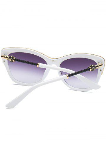 Unique Butterfly Design Metallic Inlay Frame Anti UV Sunglasses - WHITE  Mobile
