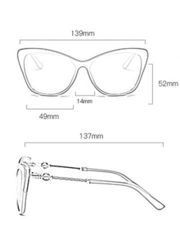 Best Butterfly Design Metallic Inlay Frame Anti UV Sunglasses - WHITE  Mobile